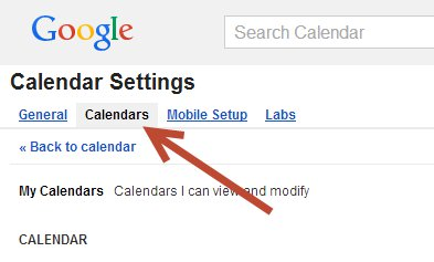 Calendar setting tabs
