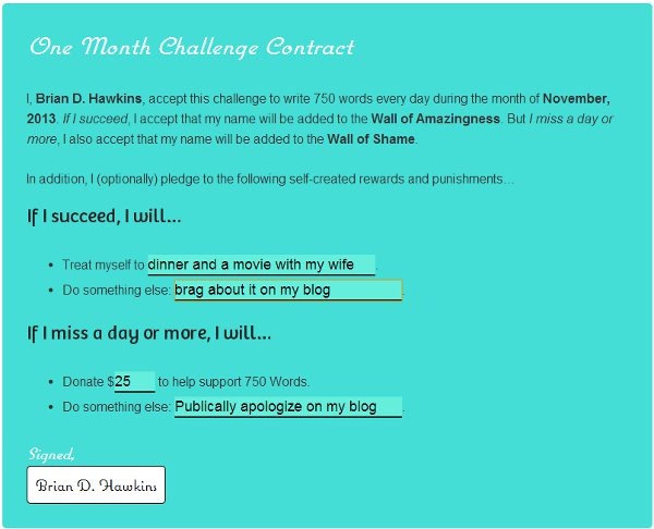 750 Words 30 Day Challenge Contract